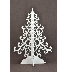 Sapin de Noël blanc 40cm style baroque. Déco Noël artisanale en bois.