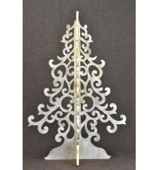 Grand sapin de Noël doré 50cm en bois. Décoration Noël intérieur.