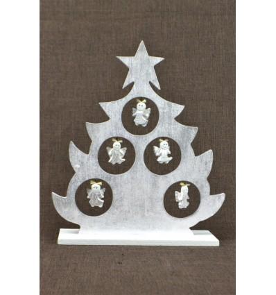 Sapin de Noël de table décor anges H30cm. Bois patine argentée.