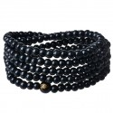 Bracelet Tibétain, Mala en perles de bois noir.