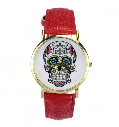 """Montre """"Calavera"""" motif crâne mexicain multicolore - bracelet similicuir rouge."""