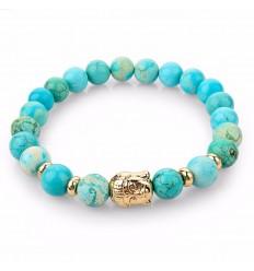 Bracelet en Turquoise naturelle + perle Bouddha dorée. Livraison gratuite.