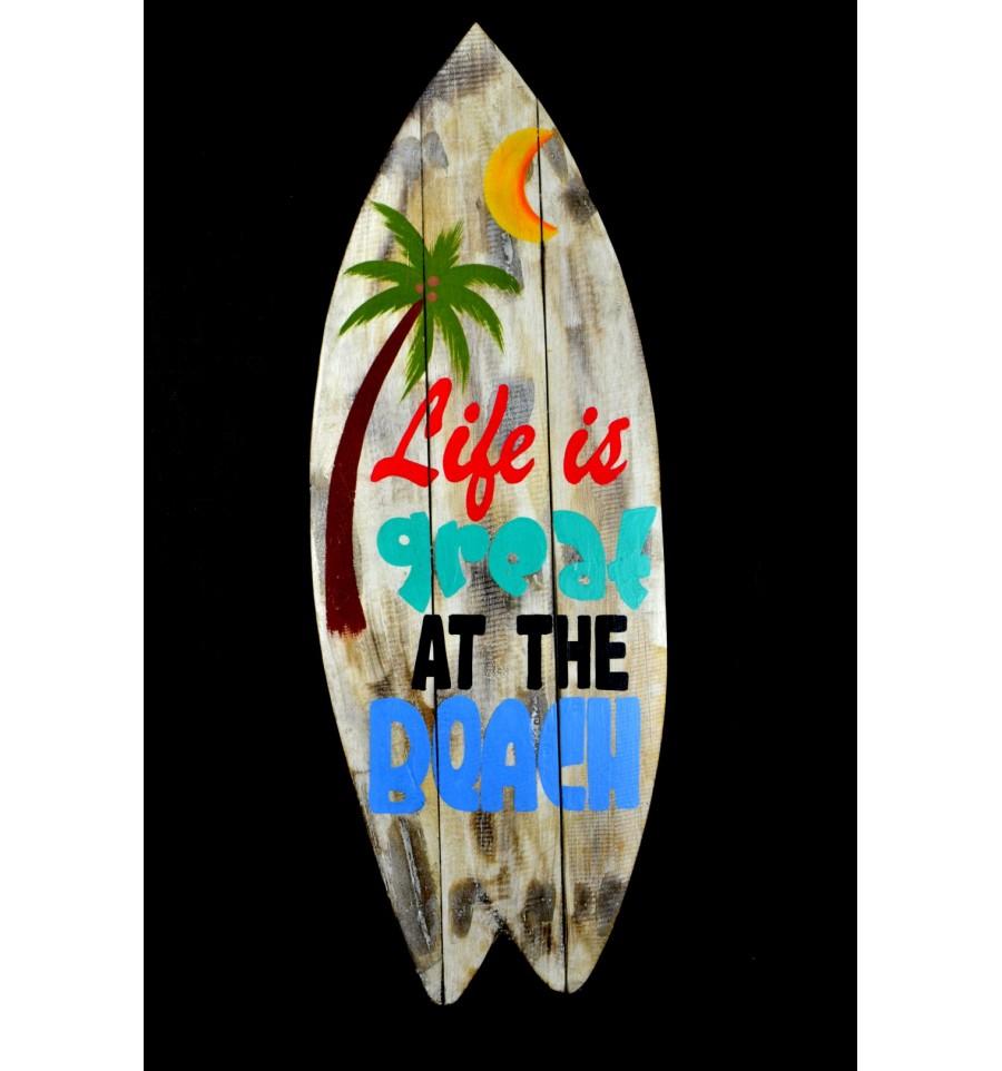 grande enseigne panneau d co murale ambiance surf plage vacances. Black Bedroom Furniture Sets. Home Design Ideas