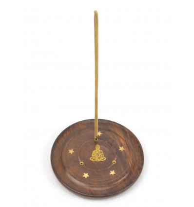 Porte-encens en bois pour cônes et bâtonnets - motif Bouddha