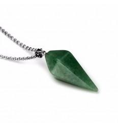 Collier avec pendentif en Aventurine naturelle style pendule. Bien-être, créativité.