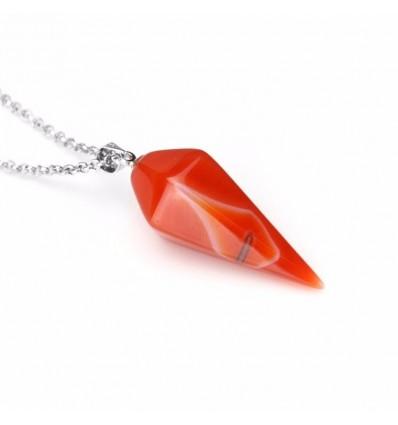 Collier avec pendentif en Agate naturelle style pendule. Chance, Paix intérieure.