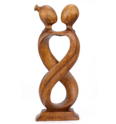 Statue abstraite couple Amour Infini h30cm bois massif Marron