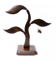 Arbre à bijoux 3 feuilles en bois massif marron