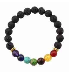 Bracelet 7 chakras en pierre de lave. Bijoux Yoga / Méditation.