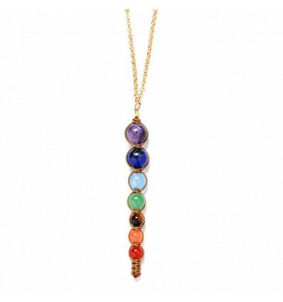 Collier + pendentif 7 chakras, métal doré et 7 pierres fines.