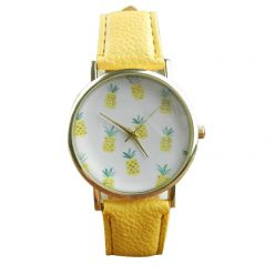 """Montre fantaisie """"Ananas"""" - bracelet similicuir jaune. Livraison gratuite !"""