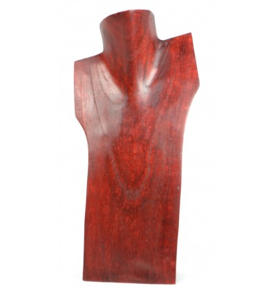 Buste incliné, présentoir à colliers en bois massif rouge H30cm