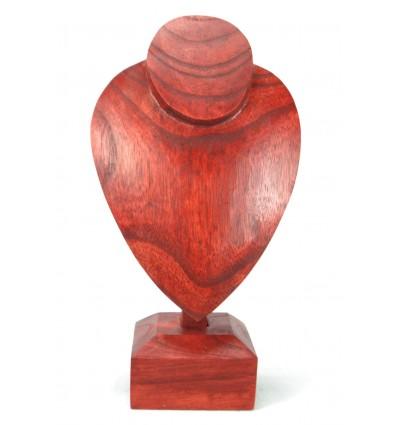 Buste présentoir à collier sur pied en bois massif teinte rouge H30cm