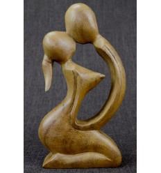 Statuette abstraite Couple Sensuel h20cm en bois massif brut