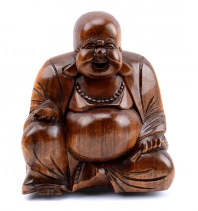 statuette du bouddha chinois rieur happy buddha budai bois sculpt 233