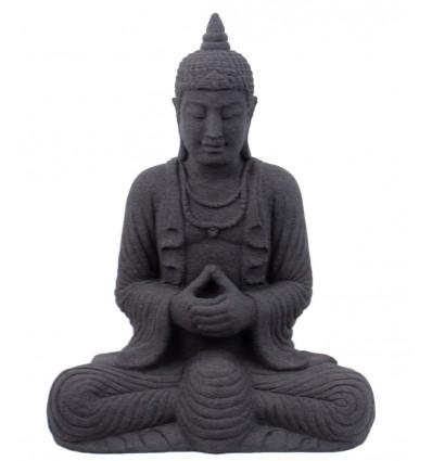 Statue Bouddha pierre noire, déco ethnique asie thailande.