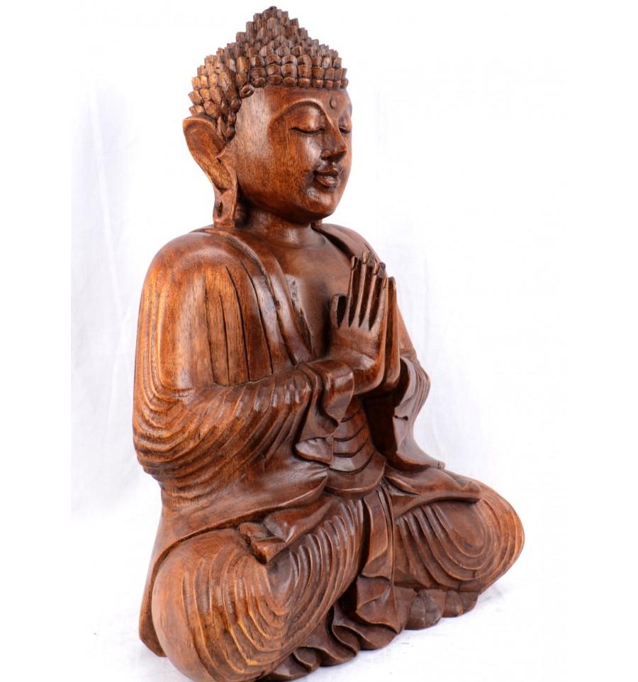 grande statue de bouddha assis en bois massif sculpt main h40cm ebay. Black Bedroom Furniture Sets. Home Design Ideas