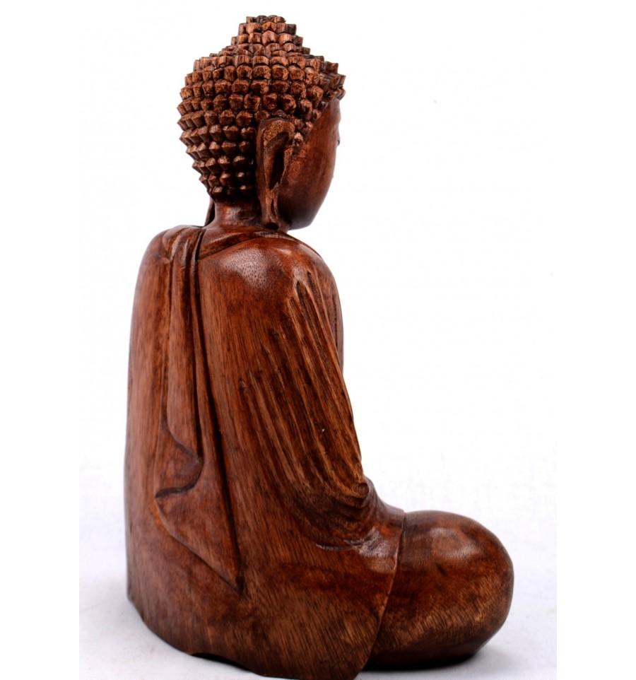 statue bouddha assis en position du lotus h30cm bois sculpt main ebay. Black Bedroom Furniture Sets. Home Design Ideas
