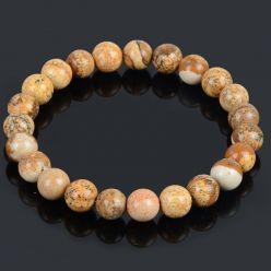 Bracelet élastique jaspe bois terre beige pas cher
