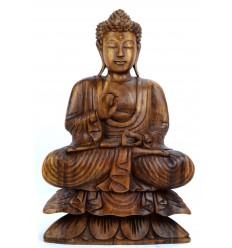 Statue de Bouddha assis sur lotus h40cm Bois sculpté main
