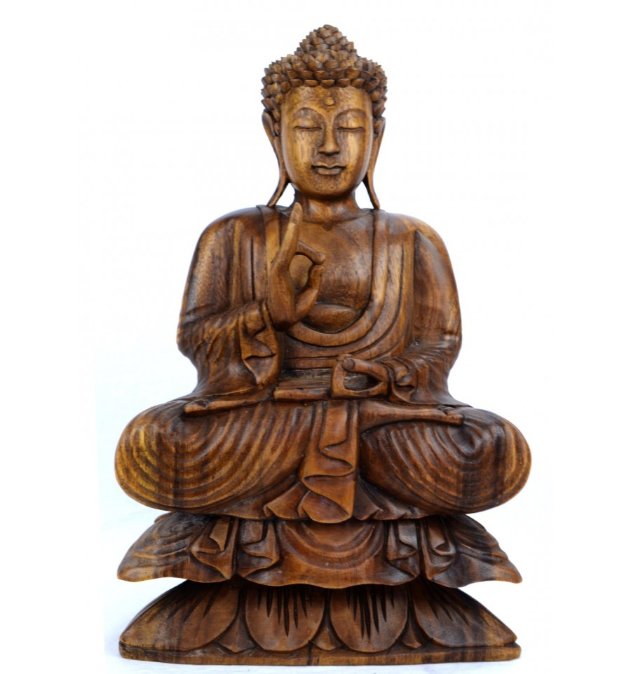 achat statue de bouddha assis sur lotus vitarka mudra d coration zen. Black Bedroom Furniture Sets. Home Design Ideas