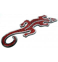 Décoration murale originale. Gecko margouillat mosaïque de verre rouge