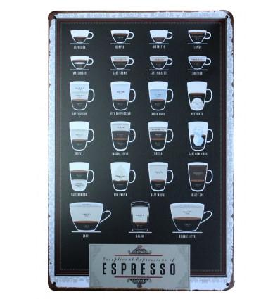 Plaque d corative murale r tro vintage caf espresso achat pas cher - Plaque deco cuisine retro ...