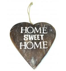 """Plaque de porte en bois vieilli """"Home sweet home"""" forme coeur. Déco romantique."""