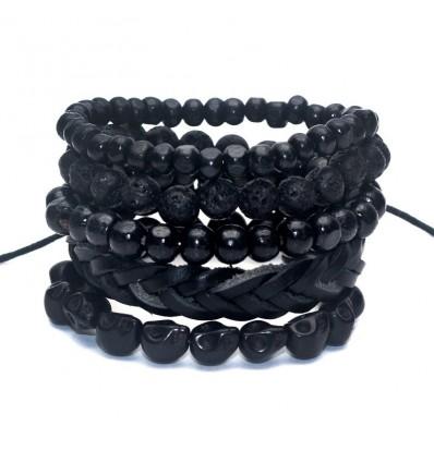 Combo 5 bracelets tendance pour homme en cuir, bois et pierre.