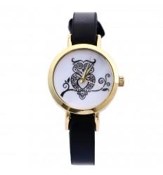"""Montre femme, bracelet fin, petit cadran motif """"hibou""""."""