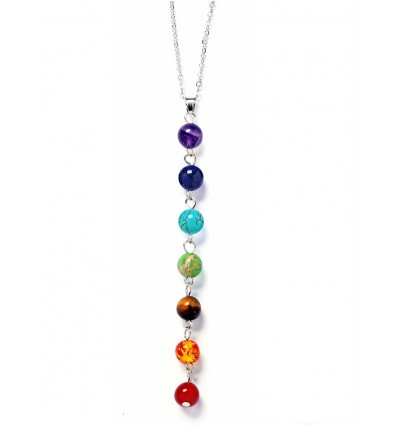 "Collier avec pendentif ""7 chakras"" en pierres fines."