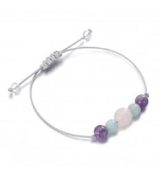 """Bracelet Porte-bonheur """"Bien-être"""". Quartz rose, Améthyste, Amazonite."""