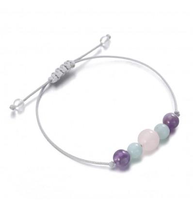 Bijou bracelet porte-bonheur bien-être, quartz, améthyste, amazonite.