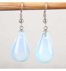 Boucles d'oreilles forme goutte en opale naturelle, crochet plaqué argent.