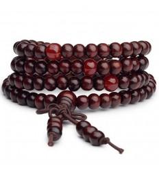 Bracelet Tibétain, Mala en perles de bois + noeud sans fin. Coloris bordeaux