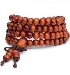 Bracelet Tibétain, Mala en perles de bois + noeud sans fin. Coloris orange