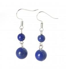 Boucles d'oreilles pendantes 2 boules en Lapis Lazuli
