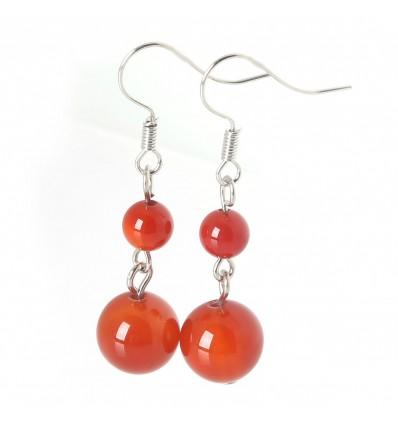 Boucles d'oreilles pendantes 2 boules en Agate Rouge