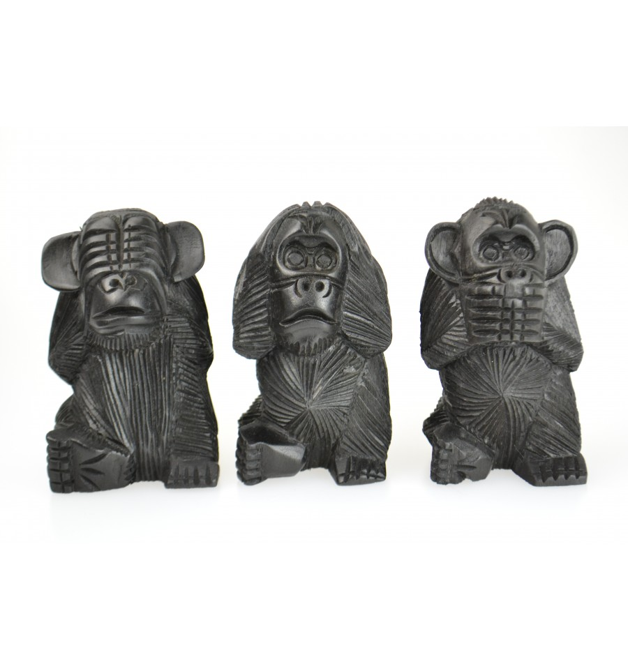 d co statues les 3 singes de la sagesse en bois noir d co. Black Bedroom Furniture Sets. Home Design Ideas