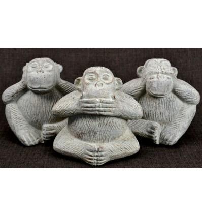 Les 3 singes de la sagesse. Statuettes déco en pierre de Java blanche H13cm