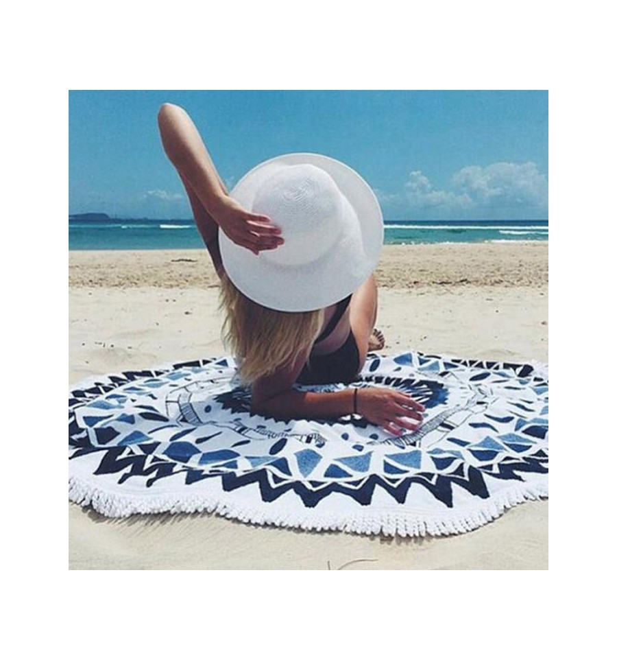 drap de plage rond azteque blanc et bleu tapis de yoga. Black Bedroom Furniture Sets. Home Design Ideas