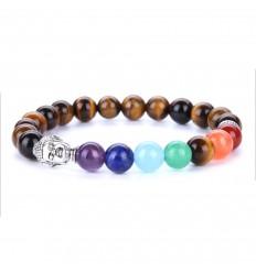 Bracelet 7 chakras en oeil de tigre et 7 pierres fines.