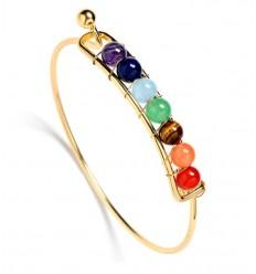 Bracelet 7 chakras, métal doré et 7 pierres fines.