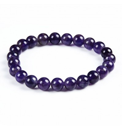 Bracelet en Améthyste naturelle + perle Bouddha. Livraison gratuite.