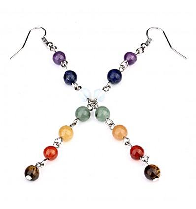 Boucles d'oreilles 7 chakras pierre yoga lithothérapie achat pas cher.