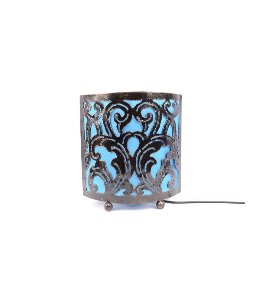 lampe de chevet style oriental marocain fer forg bleu turquoise. Black Bedroom Furniture Sets. Home Design Ideas