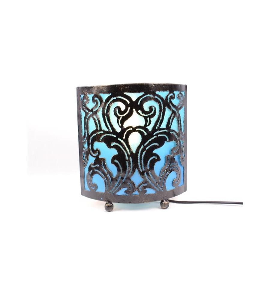 Lampe de chevet style marocain oriental fer forg tissu turquoise ebay - Lampe de chevet fer forge ...