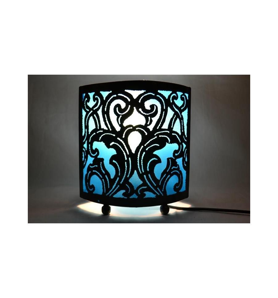 lampe de chevet style marocain oriental fer forg tissu turquoise ebay. Black Bedroom Furniture Sets. Home Design Ideas