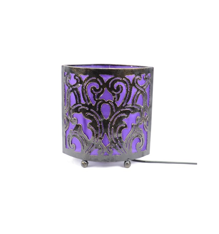 lampe de chevet style marocain oriental fer forg tissu violet petit prix. Black Bedroom Furniture Sets. Home Design Ideas