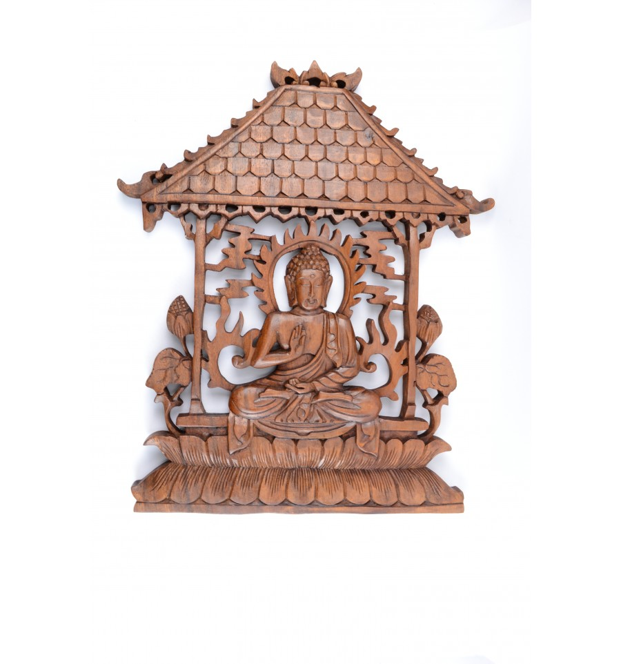 d cor mural temple de bouddha sculpture sur bois artisanale. Black Bedroom Furniture Sets. Home Design Ideas